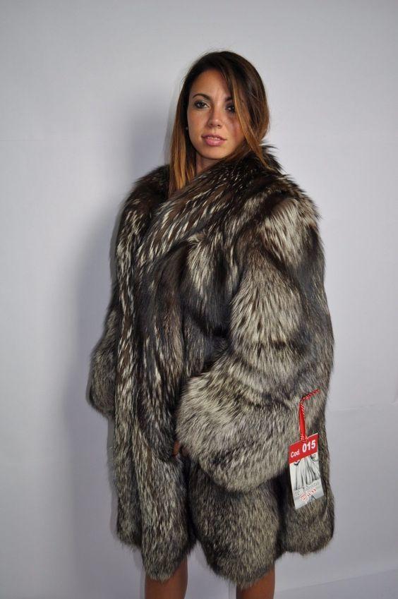 Silver fox long fur coat hood clas of chinchilla sable jacket mink
