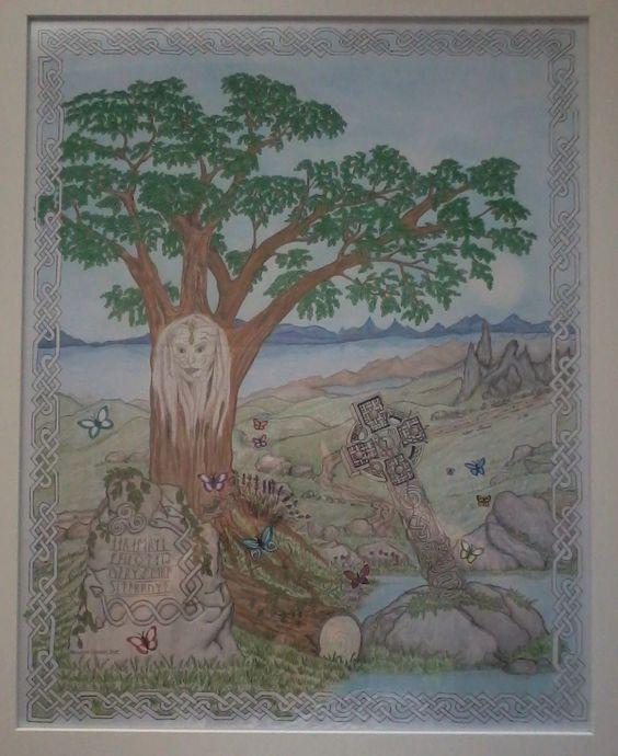 Een keltische tekening...de Eik is de meest heilige boom van de kelten. Iedere eik was bezield door een fee en daardoor een belangrijke geluksbrenger..keltisch kruis enz