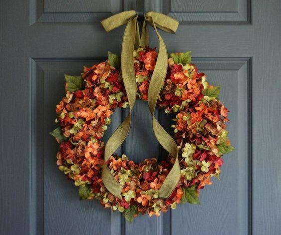 Fall Blended Hydrangea Wreath Fall Door Decor Door Wreath