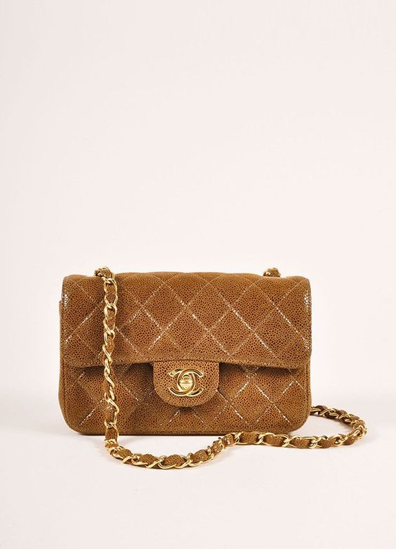 Brown and Gold Toned Suede and Caviar Leather Quilted Classic Mini Flap Bag