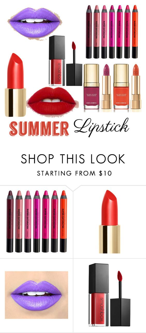 """""""summer"""" by amgalanski ❤ liked on Polyvore featuring beauty, Dolce&Gabbana, Urban Decay, Fiebiger, Smashbox and summerlipstick"""
