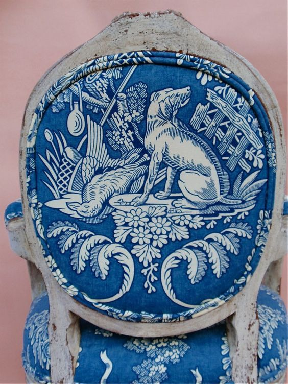 back of a Louis chair in blue/white toile