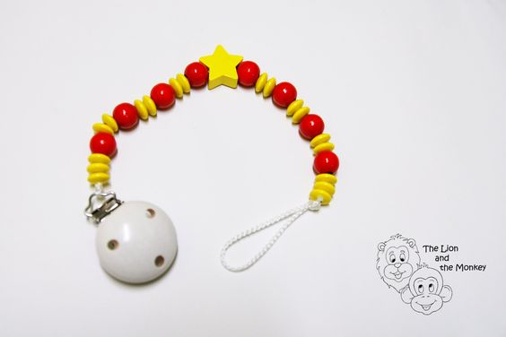Wooden Soother Chain  - Red/Yellow by TheLionandtheMonkey on Etsy