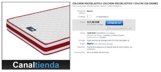 Oferta colchón viscoelástico 135x190 cm  Pvp Canaltienda: 127€ Pvp Tiendas: 254€ -50% DESCUENTO  http://www.ebay.es/itm/231065429832?ssPageName=STRK:MESELX:IT&_trksid=p3984.m1586.l2649