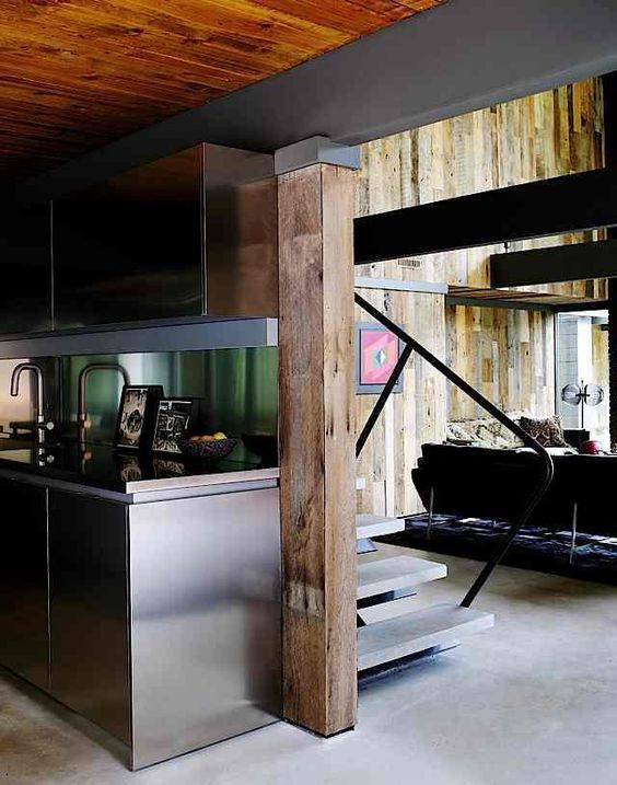 I dig the back splash and modern mixed with (what looks like ) reclaimed wood.
