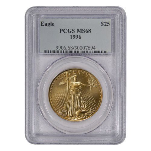 1996 1 2 Oz Gold American Eagle 25 Coin Pcgs Ms 68 In Coins Paper Money Bull 1996 1 2 Oz Gold Gold Coins For Sale Gold Bullion Coins Gold American Eagle