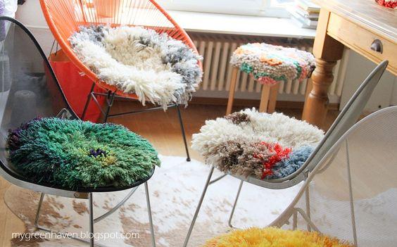 shaggy kissen, gehäkelt + geknüpft made by christina www.mygreenhaven.blogspot.com