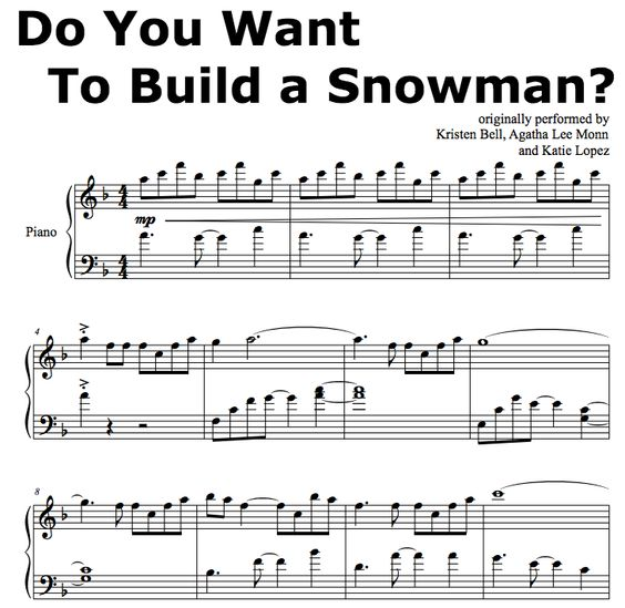 Frozen do you wanna build a snowman piano sheet music easy for First house music song