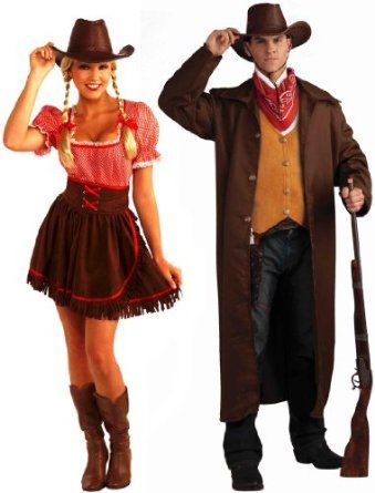Cowgirl Cutie Dress  Gun Fighter Cowboy Adult Couples Set Halloween Costumes Couples