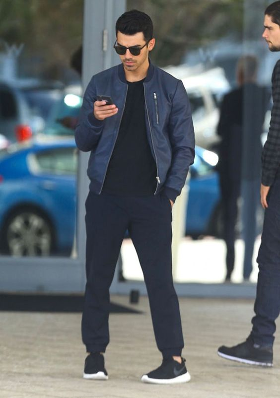 Joe Jonas Casual Blue Bomber Jacket Outfit: Get the Look image Nick Jonas Blue Leather Bomber Jacket 800x1139: