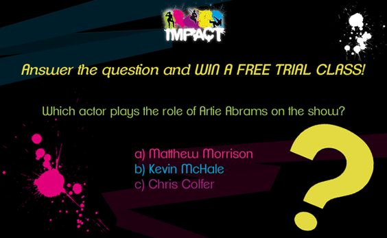 Let's have a #competition!  We're all huge fans of the GLEE series, here at Impact. We love the #music, the #dances, and the message the show sends across.  How big a GLEE fan are you? Answer the question below and you could WIN a FREE trial class with us
