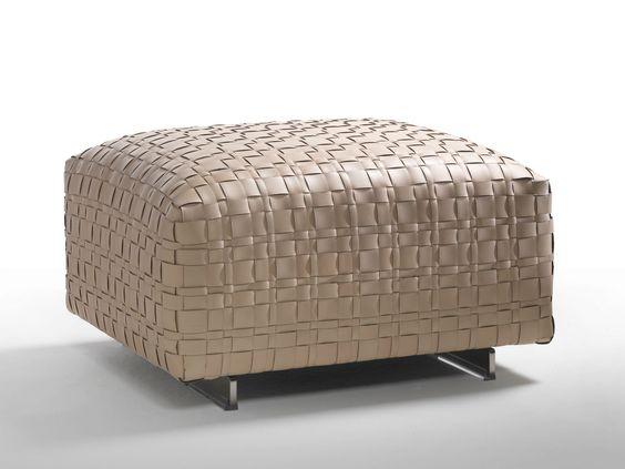 Pouf rembourré en cuir BANGKOK by FLEXFORM design Centro Studi Flexform