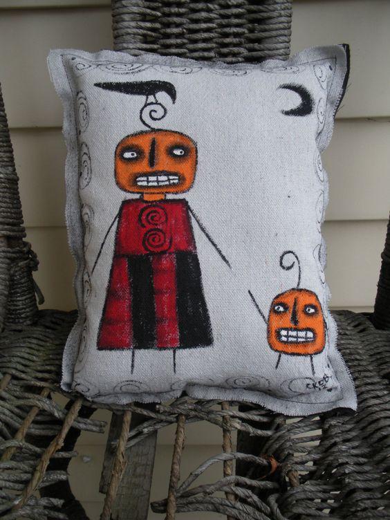 Halloween Pumpkins Art Pillow Hand Painted by KimberlyBarnesArt, $20.00