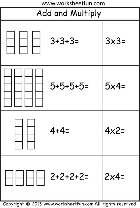 Addition Worksheets multiplication as repeated addition worksheets : Repeated addition, Addition worksheets and Multiplication on Pinterest