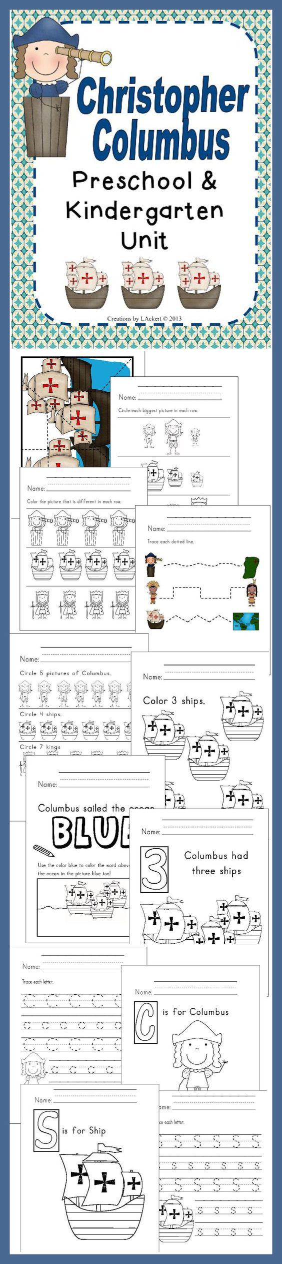 math worksheet : christopher columbus kindergarten unit that includes different  : Kindergarten Homeschool Worksheets