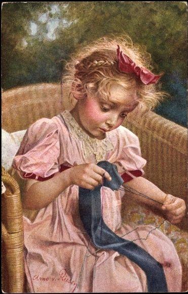 Künstler Ak v. Riesen, Every beginning is difficult, girl knits: