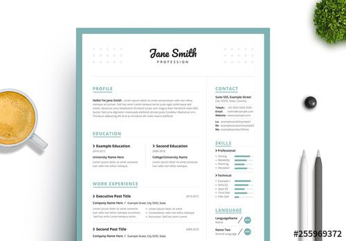 Stock Template Of Resume And Cover Letter Set With Turquoise Border Search More Similar Templates At Adobe Stoc Clean Resume Resume Cv Cover Letter For Resume