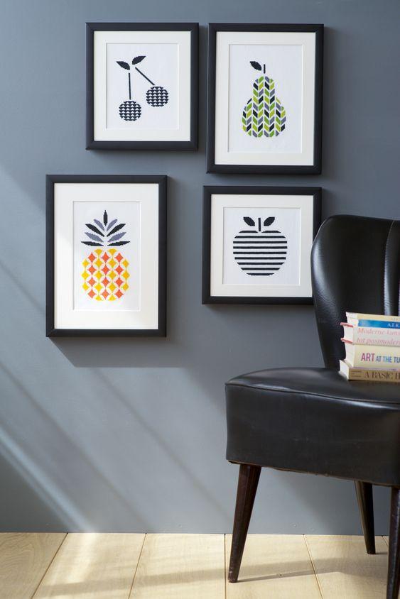 Vervaco, cross stitch, embroidery, diy, modern interior, fruit, cherries, pear, apple, pineapple, sofa, retro, vintage, trendy, black and white