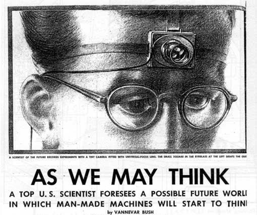 What invention did Vannevar Bush write about in a 1945 essay?