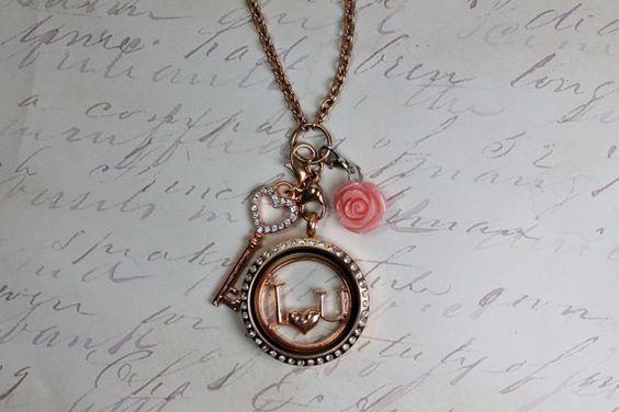 I <3 U Locket necklace - Large 30mm Stainless steel rose gold locket w crystals, I <3 U rose gold plate, Rose gold key & pink flower dangle on Etsy, $45.99