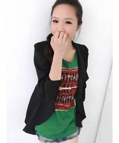 Buy Black Women Lapel V-Neck Long Sleeves Shoulder Wrinkling Irregular Cotton Blend One Size Jacket 14.55
