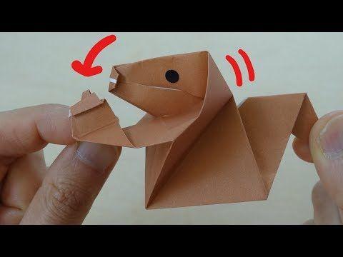 動く折り紙 ドングリをかじるリス 作り方 Moving Origami Squirrel Bites Acorn Youtube 折り紙 リス ドングリ