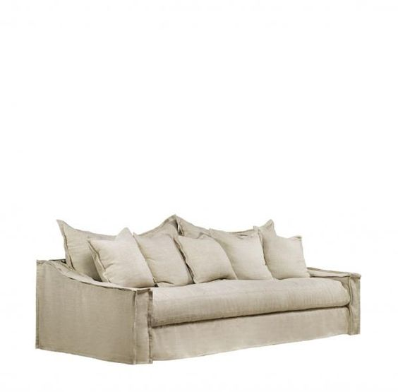 Adeline 90 inch light beige linen slipcover sofa for Beige slipcover sofa