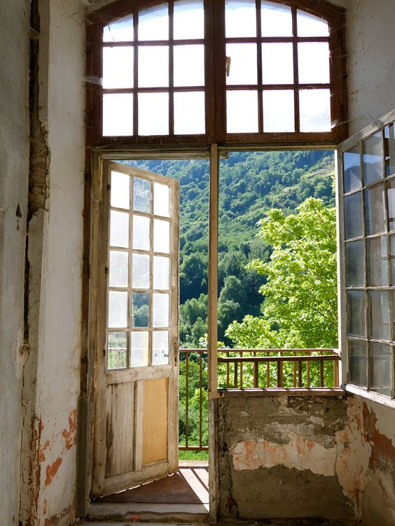 Inside the decaying Chateau de Gudanes are these moments of weathered bliss! Old world windows and French doors, distressed mottled walls and magnificent architecture with South of France countryside bliss right outdoors. Weathered Walls & Déshabillé Lovely. #chateau #French #decay #walls #weathered #windows #oldworld