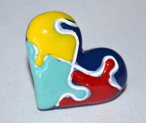 Autism Awareness Heart Shaped Puzzle Pin Resin Top Hat Cabochon Lapel Coat Pin