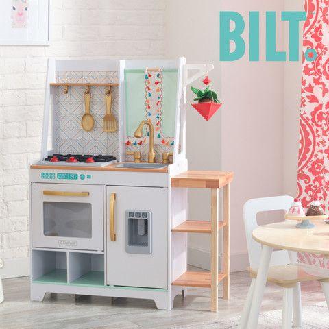 Kidkraft Boho Bungalow Play Kitchen In 2020 Wooden Play Kitchen Play Kitchen Sets Play Kitchen
