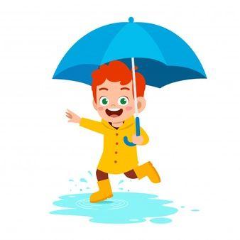 Feliz Niño Lindo Usar Paraguas Día De Lluvia Vector Premium Vector Premium Niños Felices Niños Lindos Niño Bajo La Lluvia
