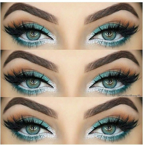 Turquoise green eyes with white liner. Shop our eye liners here > https://www.priceline.com.au/cosmetics/eyes/eye-liner: