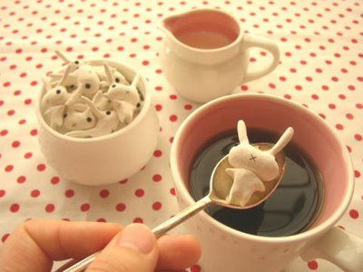 bunny sugar cubes.  I want these just so I can fake tiny screams when I drop them in.