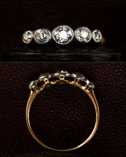1910s English Edwardian Five Diamond Ring, Approx. 0.75ctw European Cut Diamonds, 18K Yellow Gold and Platinum, $2150. Much better than average diamonds here for an English ring of this era. -Erie Basin