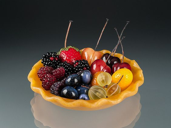 Elizabeth Johnson; Berry Tart 05; Lampworked glass and copper wire: