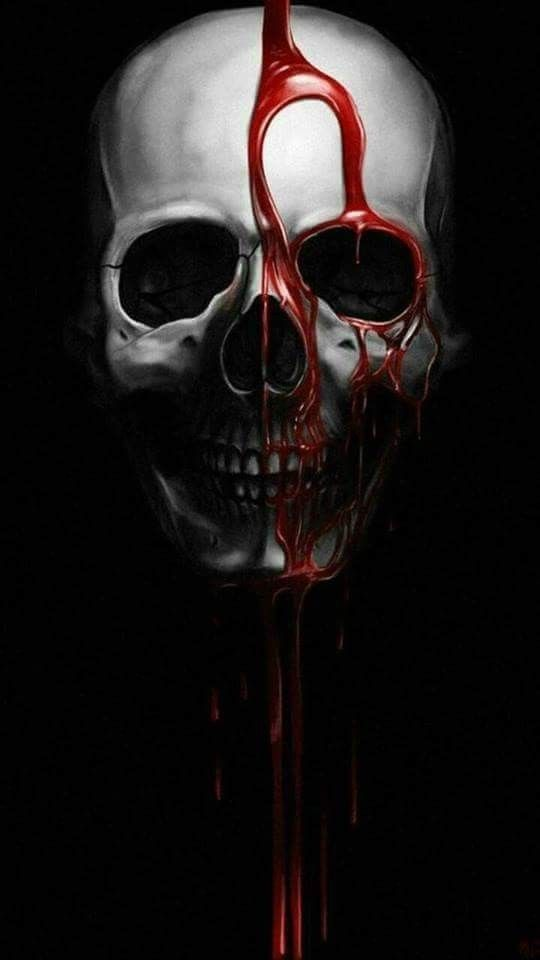 Blood Skull Skull Painting Skull Wallpaper Skull Artwork