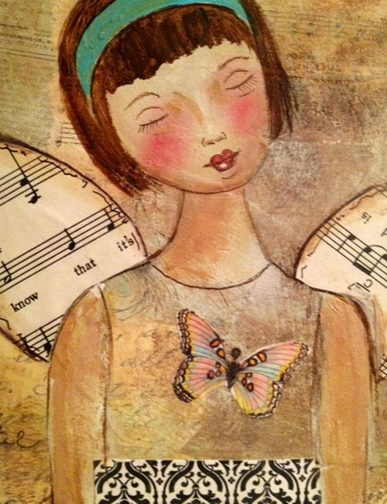 Angel print, mixed media painting