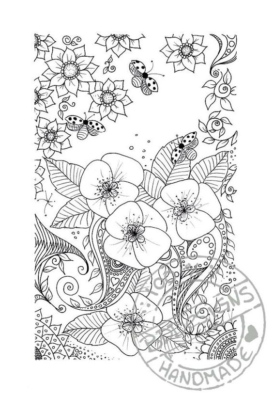 Digital coloring page 1 by BDDesignCrafts on Etsy Flowers Color Coloring pages colouring adult detailed advanced printable Kleuren voor volwassenen coloriage pour adulte anti-stress kleurplaat voor volwassenen Line Art Black and White