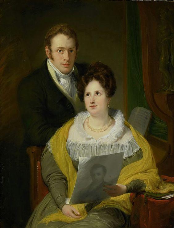 Pieneman, Jan Willem - Portret van een dame en een heer, 1829: