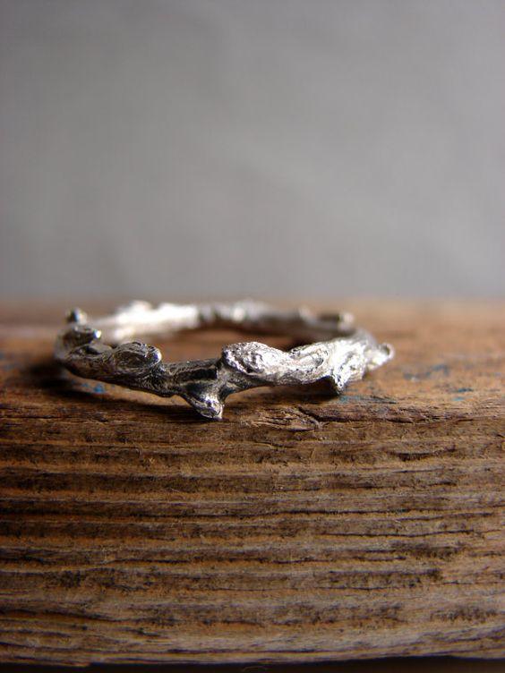 Twig Ring Silver Stacking Ring Woodland Wedding Band Ring Elvish Ring on Etsy, $49.55 AUD