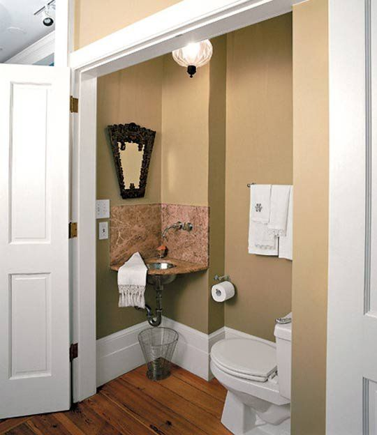 Closet Turned Into Small Bathroom  Possible to tuck one into the current entry. Look  Closet Turned Into Small Bathroom   Pinterest   Toilets