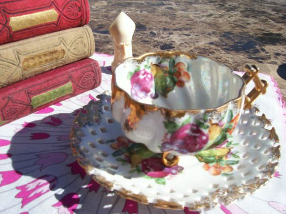 Teacup and Saucer Vintage Teacup Hand painted by AuntMaysBoutique