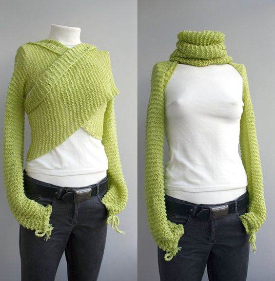 Knitting Pattern Scarf With Sleeves : Hand knitted Long Sleeve Pistachio Green Bolero - Shrug- Shawl - Neckwarmer -...