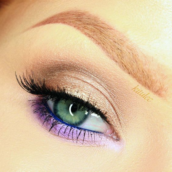 """Touch of Purple"" by kitulec using the Makeup Geek Creme Brûlée, Latte and Mocha eyeshadows with Electric gel liner."