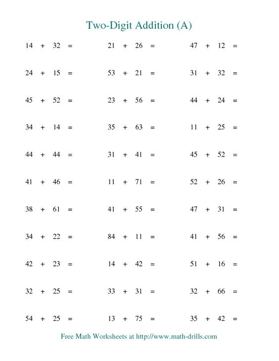 math worksheet : two digit addition  horizontal  no regrouping a  tutoring  : Math Worksheets Double Digit Addition