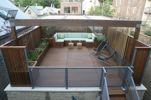 Planters decking ideas and furniture on pinterest for Garage with deck on top