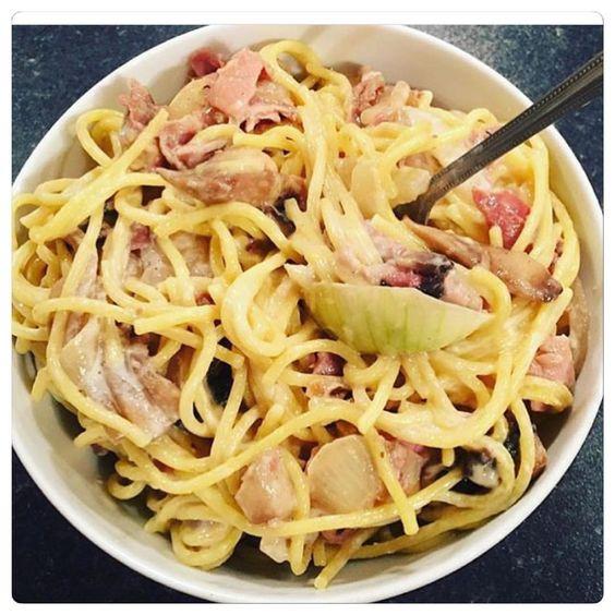 Pasta with 2eggs natural yoghurt garlic fried onion mushrooms and ham