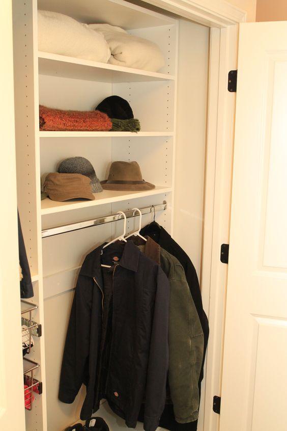 White melamine reach in closet