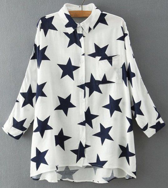 Casual Style Batwing Sleeve Shirt Collar High-Low Hem Stars Print Blouse For Women