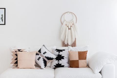 Boho Luxe Cushion Collection India Dormida Blush Cushion Hand Made Cotton Cushions Full Leather Scandi Boho Decor Sofa Styling Blush Pillows Pillows